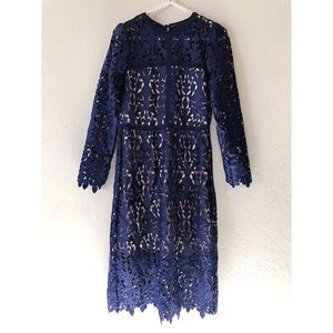 ZARA Blue Floral Cutout Lace Midi Dress